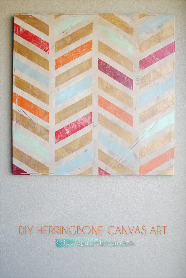 I created this DIY Herringbone Art using an old canvas that I had grown tired of. Starting with an old canvas, painters tape, and chalk paint…