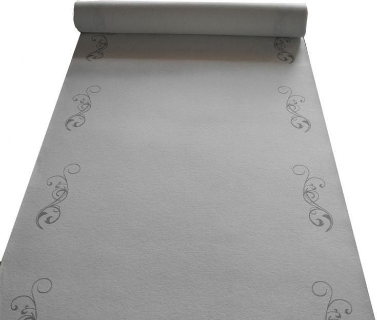 Eventboden - Weißer Hochzeitsteppich mit silbernen Arabesquen
