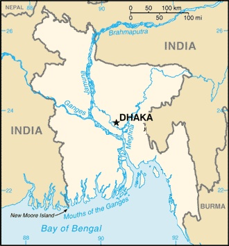 Political Planimetric Map Showing Location of Dhaka(Dacca) Bangladesh, United Nations #9 Urban Agglomeration on the Planet