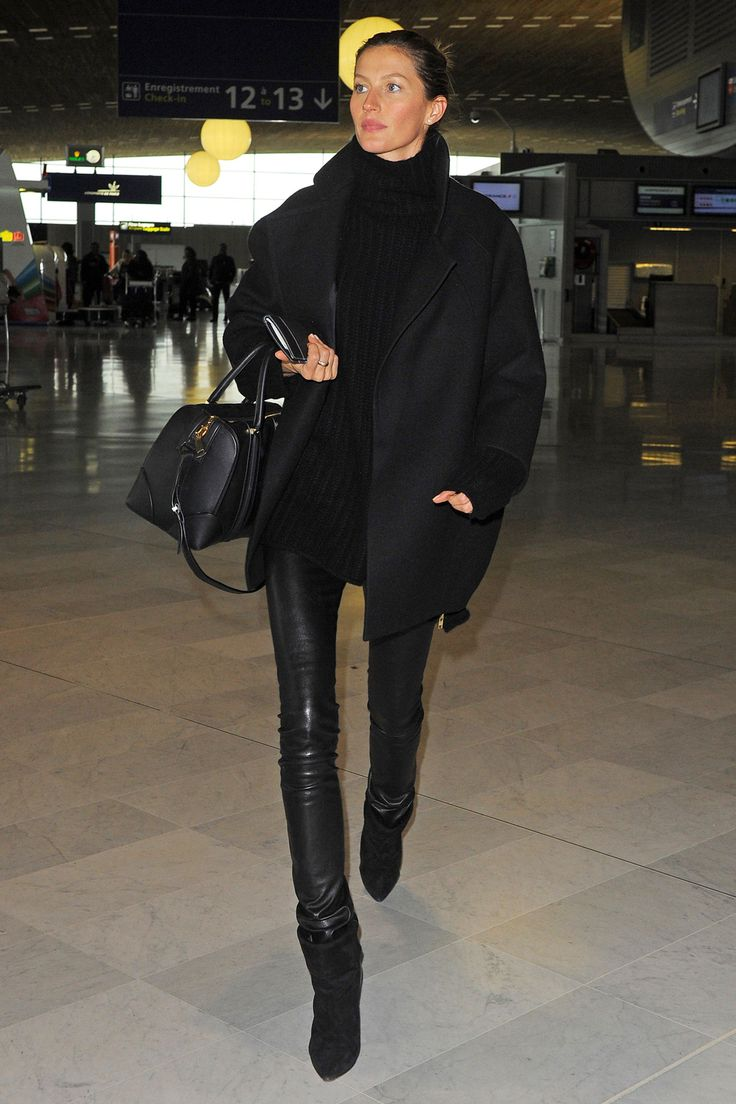 The Dos & Don'ts Of Travel Style #refinery29  http://www.refinery29.com/travel-fashion#slide26  Don't shy away from All-Black Everything. But, play up proportion, texture, and fit.Gisele Bündchen at Charles de Gaulle Airport in Paris.