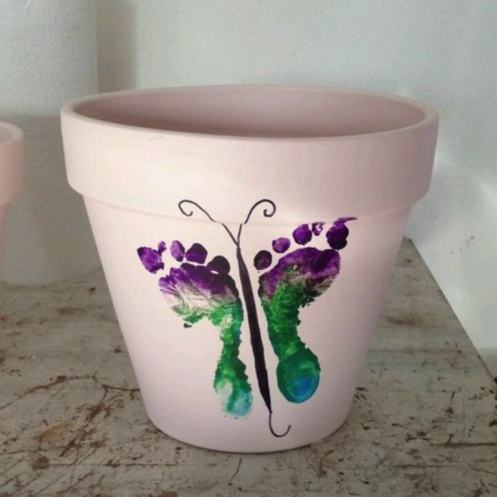Butterfly foot print flower pots. Great mothers day gift for grandmas & nanas :)