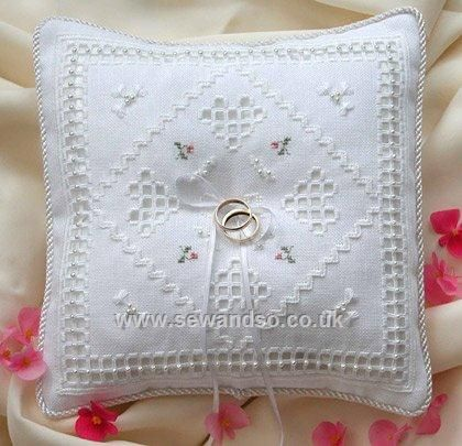 cross stitch wedding ring pillows | Photos of Cross Stitch Wedding Ring Pillow