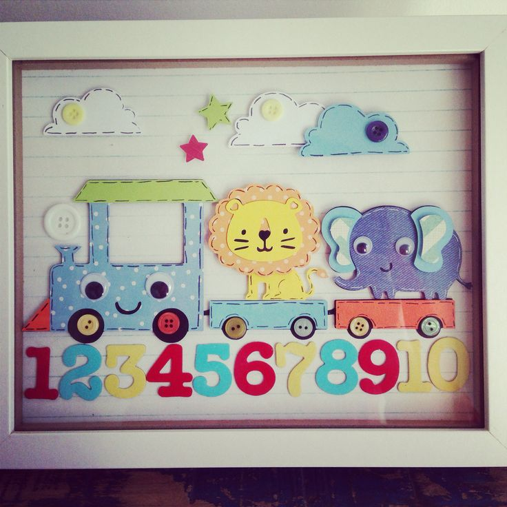 Create a critter cricut train boys wall decor shadowbox for Picture frame decorating ideas for kids