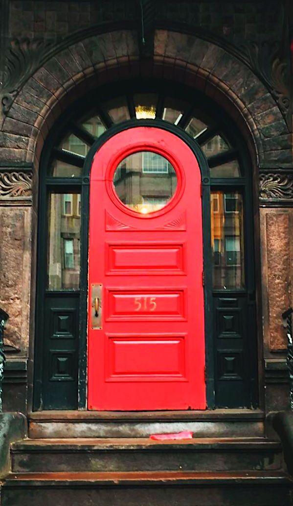 Red door in Boston, Massachusetts.