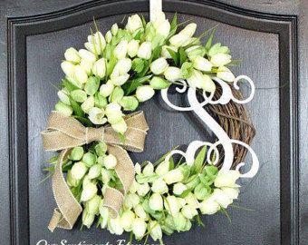 Summer wreaths Monogram burlap wreath Chevron by OurSentiments