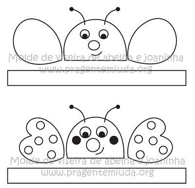 molde de máscara de abelha e joaninha