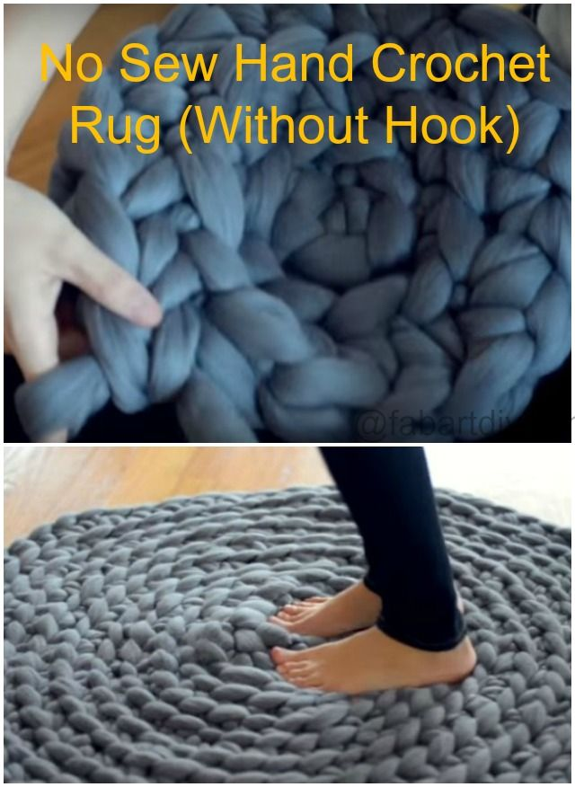 DIY No Sew Hand Crochet Rug Without Hook (Video) #Crochet, #HomeDecor