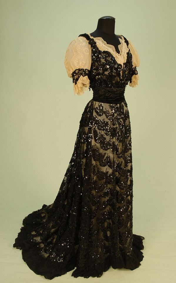 BLACK SEQUINNED NET EVENING GOWN with TRAIN, c. 1900