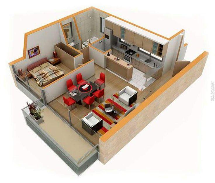 planos de casas pequenas modernas en 3d