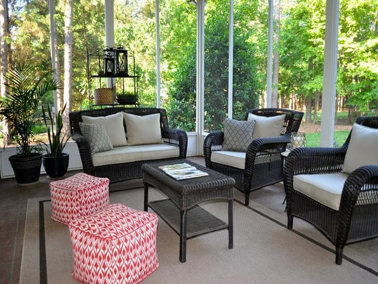 The collected interior our screened porch of screened in for Screened porch furniture layout