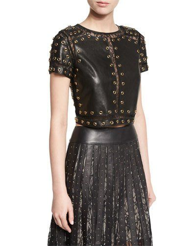 Alice+Olivia+Rebecca+Studded+Leather+Top+W+Lace+Trim+|+Clothing