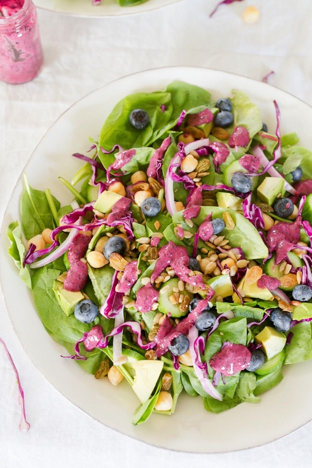 Antioxidant Salad with Blueberry Tahini Dressing #vegan #healthy #plantbased