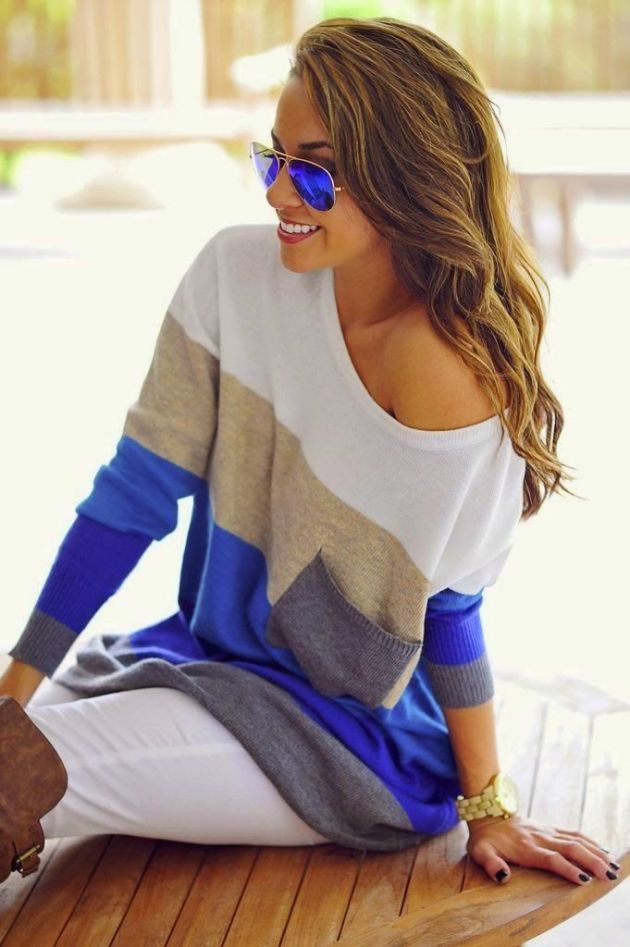 Striped Sweater. Cool Shades. #together