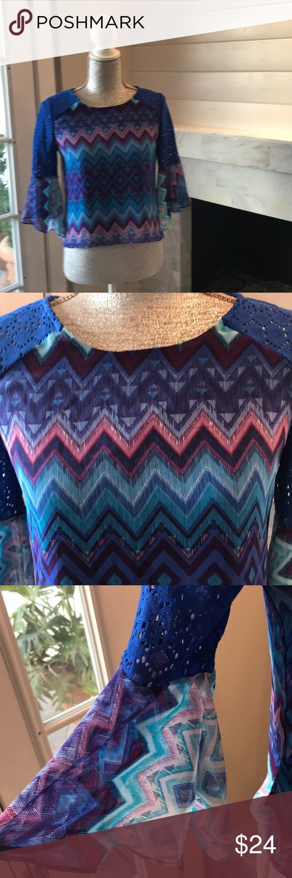 """Tribal Printed Bell Flutter Sleeve Top - Like New! Lined.  Measurements laid flat:  Front 20"""" long.  Back 22"""" long.  Under Arms -17.5"""".  Midsection - 17.5"""".  Across bottom - 19"""".  Sleeves - 15"""" long. Amy Byer Tops"""