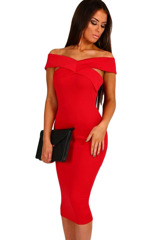 Elegant Summer Party women bodycon dress Slash Neck O-Neck Hollow Out red Off Shoulder Slim Fit Midi Dress LC61464