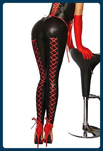 Wetlook-Leggings mit Schnürung - schwarz/rot - M - Schnürhalbschuhe für frauen (*Partner-Link)