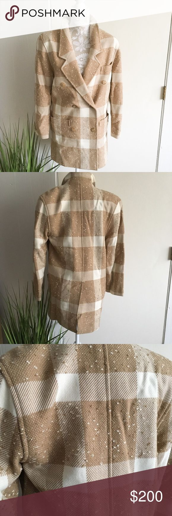 """Escada Neiman Marcus Vintage Wool Jacket *Vintage, long wool jacket, tan and off white plaid print, no major signs of wear. Tag says 34/converts to US 4/small.*  •Bust:20"""" •length:32"""" •sleeve:23""""                                                           📷filter used on first photo 🛍Bundle for a Discount/all sales final/no holds/no trades Escada Jackets & Coats"""