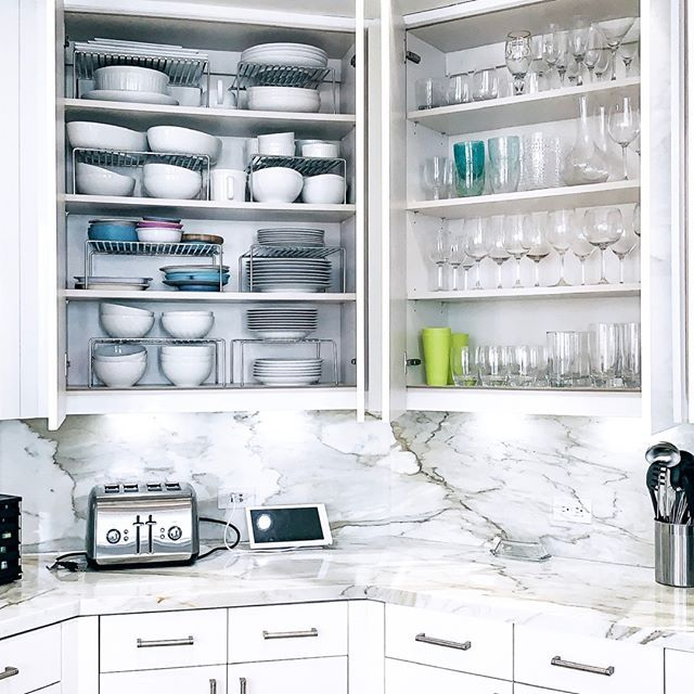If You Can T Add More Shelves Shelf Risers Are A Great Alternative To Maximize The Vertical Space In A Kitchen Cabinet Shelves Cabinet Kitchen Cabinets