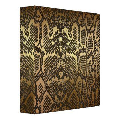 #Snake Skin Print Modern Glam Gold 3 Ring Binder - #office #gifts #giftideas #business