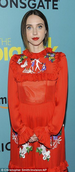 Lady in red: Zoe Kazan, the film's leading lady, looked fashionable in an embroidered red frock