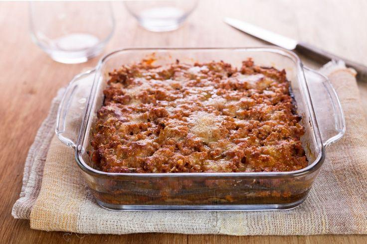 Moussaka ricetta melanzana grigliata non fritta e formaggio di riso
