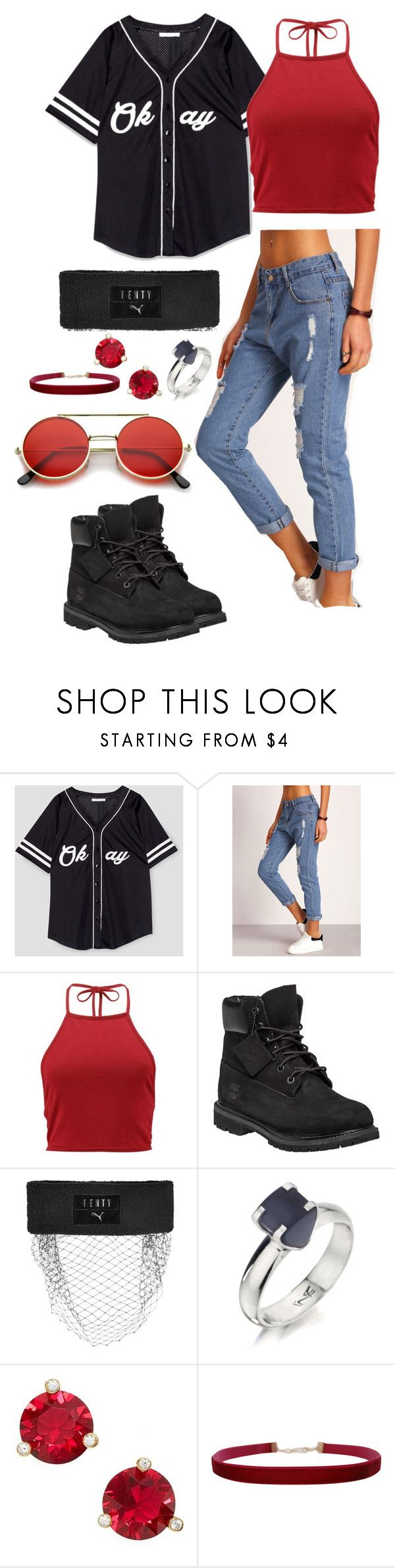 """""""red"""" by fandom-trash-stan on Polyvore featuring Boohoo, Timberland, Puma, Humör, Kate Spade, Humble Chic and ZeroUV"""