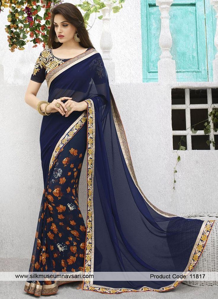 Blissful Dark Blue Georgette Designer Saree