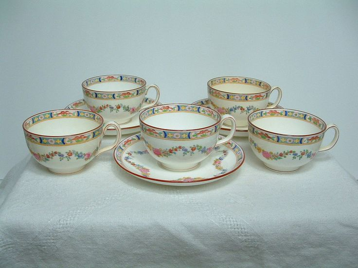 VINTAGE MINTON ROSE A4807 HAND ENAMEL 5 CUPS u0026 3 SAUCERS-ENGLAND-8 PCS & 31 best China Made in England images on Pinterest | China china ...
