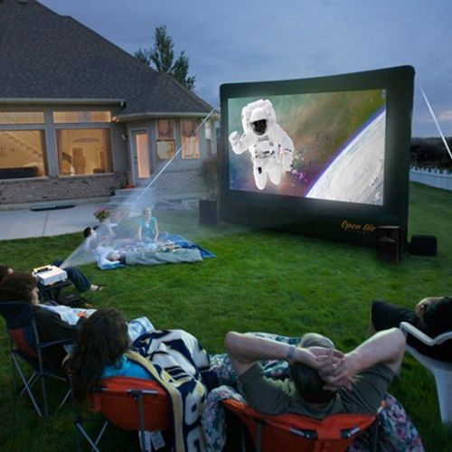 Now that would be cool!  Open Air Cinema 9 ft. CineBox Home Theater System - Outdoor Audio and Video Equipment at Hayneedle