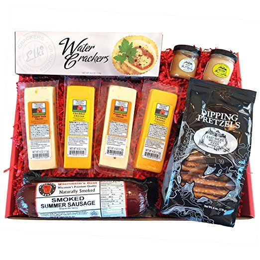 SPECIALTY Gift Basket - features Smoked Summer Sausages, 100% Wisconsin Cheeses, Crackers, Pretzels & Mustard | Great for tailgating! - Perfect Holiday Gift!