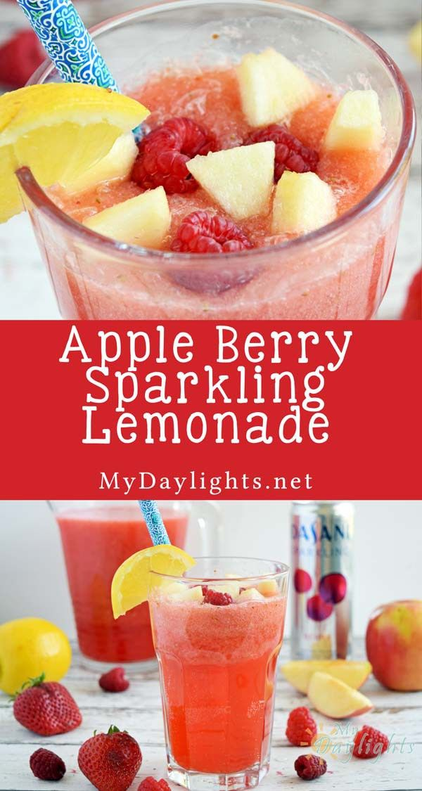 Apple Berry Sparkling Lemonade is refreshing and the perfect drink to enjoy while you're relaxing! Get this healthy recipe for your next beverage.