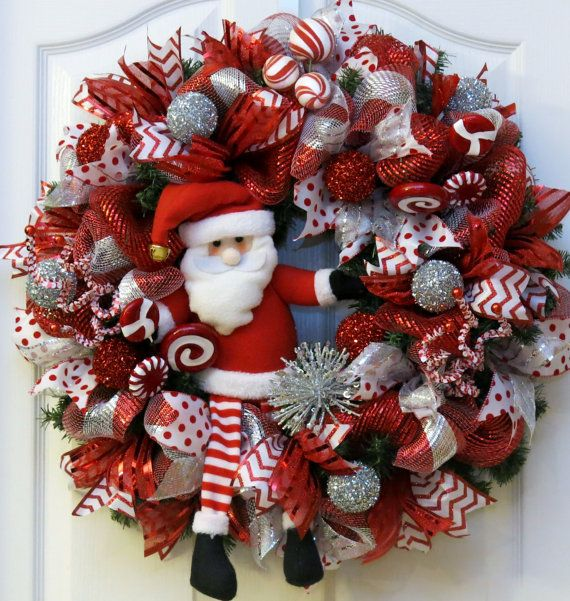 Santa Claus Christmas wreath with deco mesh, ornaments, candy, red, white and silver ribbons, holiday decor, door wreath