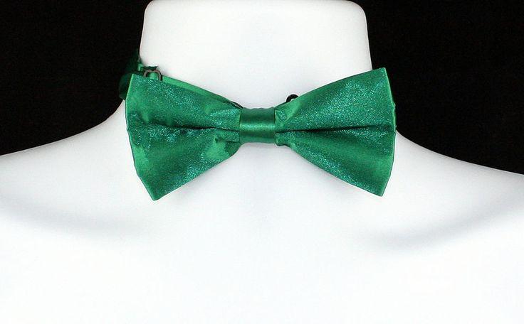 New Green Solid Satin Finish Mens Bow Tie Tuxedo Wedding Prom Fashion Bowtie #DanggiMan #BowTie