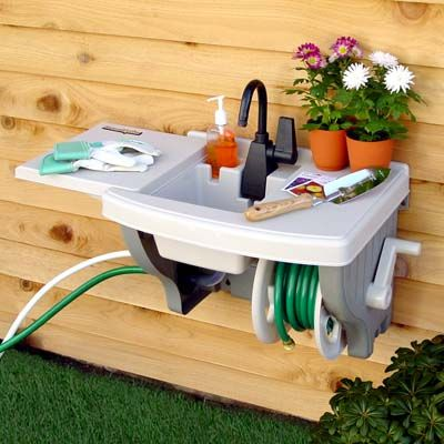 Wall Mounted Outdoor Sink with Hose Reel