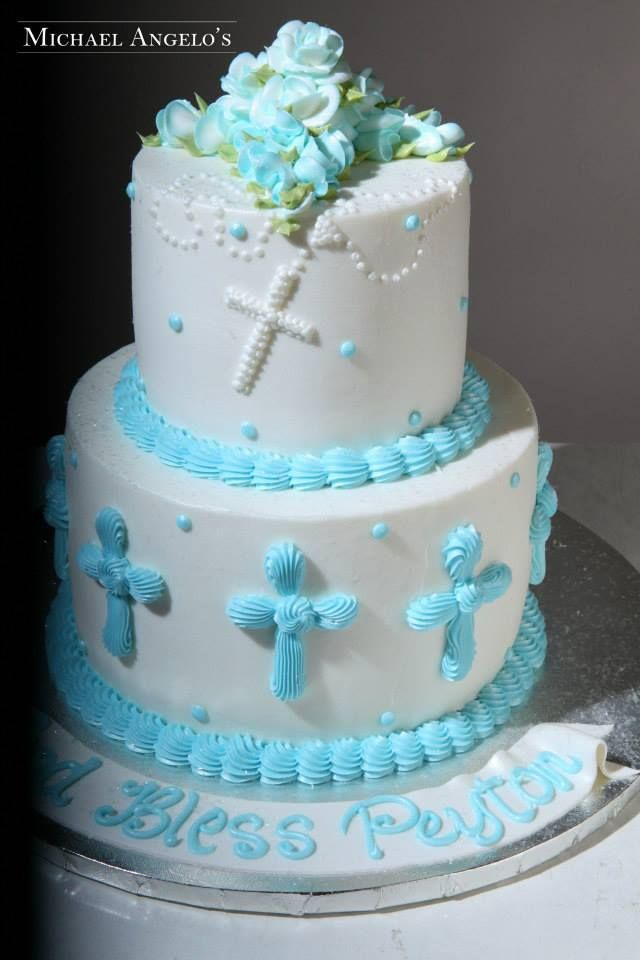 baptism/christening cake for a boy...simple but cute! by Michael Angelo's