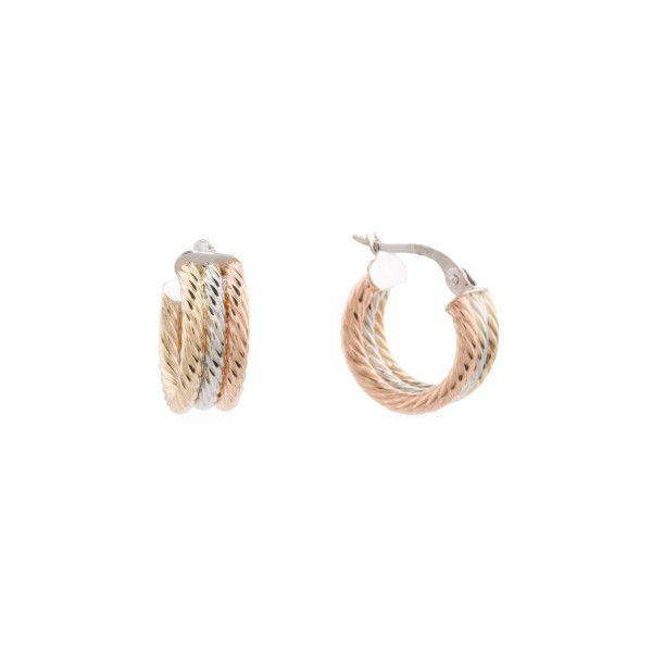 Made In Italy 14k Tricolor Gold 2 Row Chubby Hoop Earrings 150