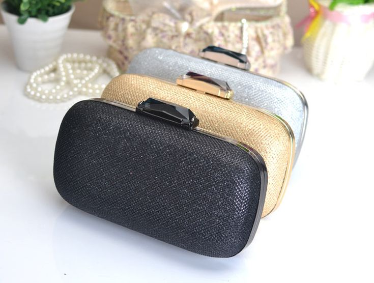 New Hot Sell Silver/Gold/Black Diomand Clasp Evening Clutch Miniaudierie Purse  (XJEB108)
