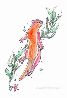 Sea otter tattoo design by fabianfucci.deviantart.com