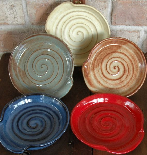 Choose your color!  Stoneware Spoon Rest by MudFire Pottery by MudFirePottery on Etsy, $12.00