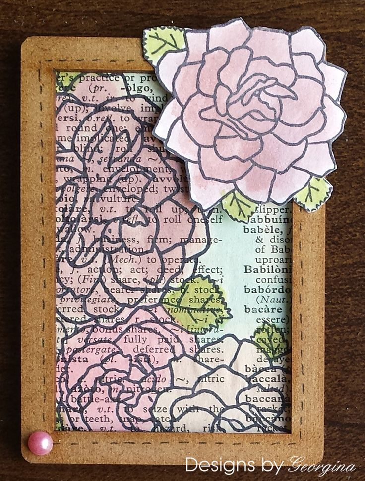 An ATC using my Designs by Georgina Rose Corner stamp and a MDF Framed ATC from That's Crafty. I have stamped the Rose Corner stamp onto white card and booktext before colouring with Distress Ink pads.  http://designsbygeorgina.blogspot.co.uk/2016/08/framed-atc.html
