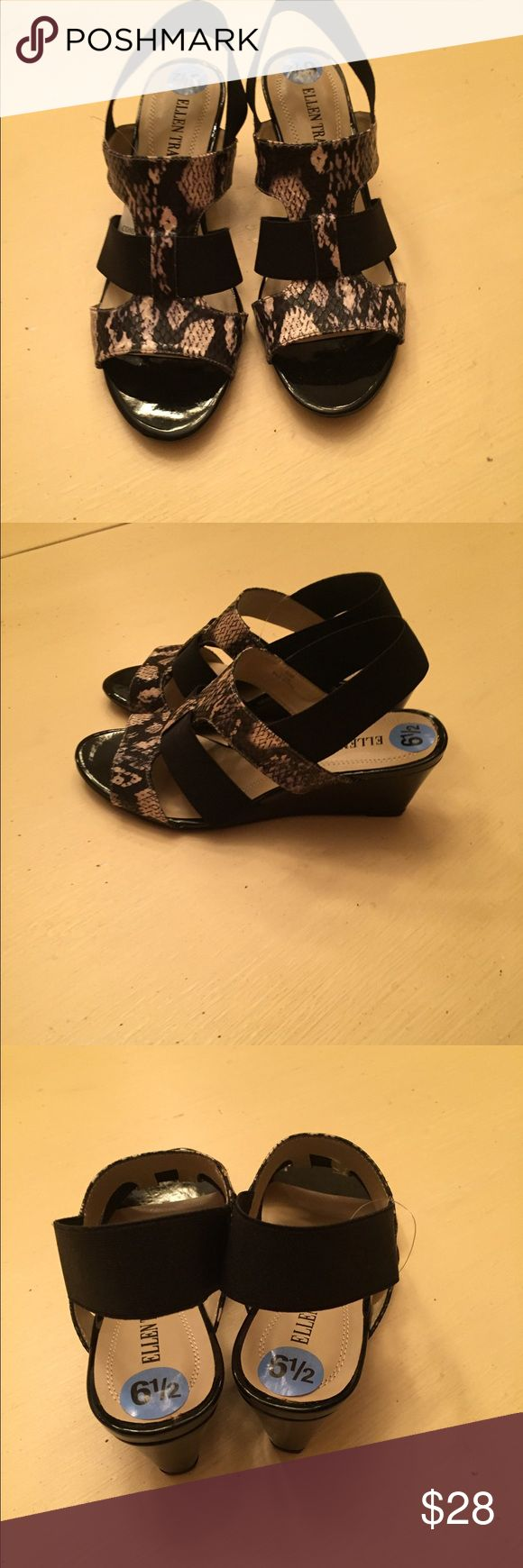 New with tags Ellen Tracy sandals 61/2 Gray, black and cream sandals size 61/2 Ellen Tracy Shoes Sandals