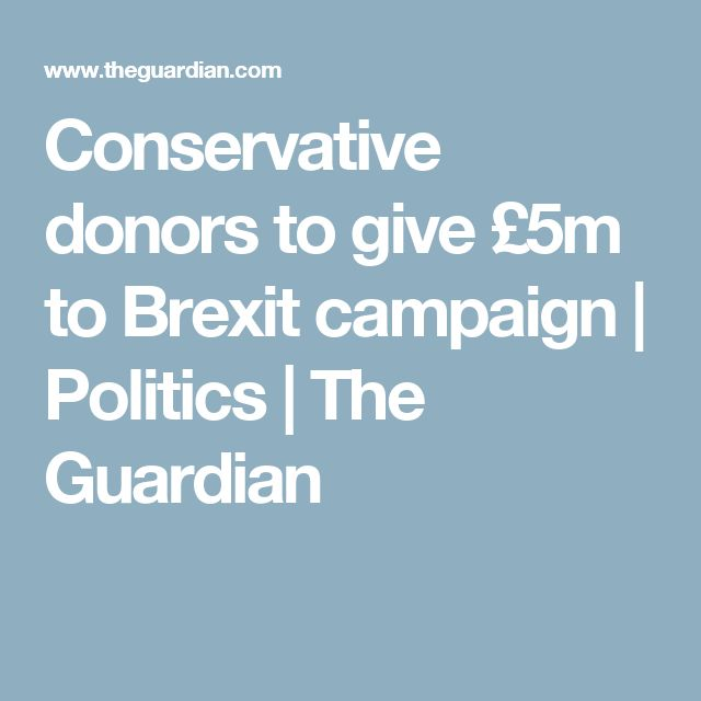 Conservative donors to give £5m to Brexit campaign | Politics | The Guardian