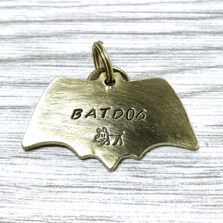 Bat Dog, Hand Stamped ID Tag Bow Tie, Dog ID Tag, Copper Dog Tag, Brass Tog Tag, Dog Tag, Gift For Dog Lover, Hand Cut by PawsAndHounds on Etsy https://www.etsy.com/uk/listing/518019435/bat-dog-hand-stamped-id-tag-bow-tie-dog