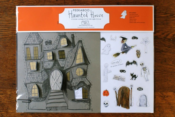 Halloween Sale, price reduced 25%, Halloween Haunted House Craft Kit for Kids, a Peekaboo House sticker collage kit for kids 5  up. $11.25, via Etsy.