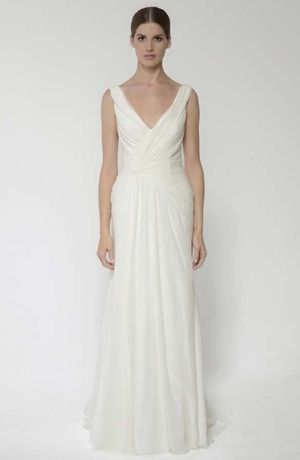 V-Neck Sheath Wedding Dress  with Natural Waist in Chiffon. Bridal Gown Style Number:32803413