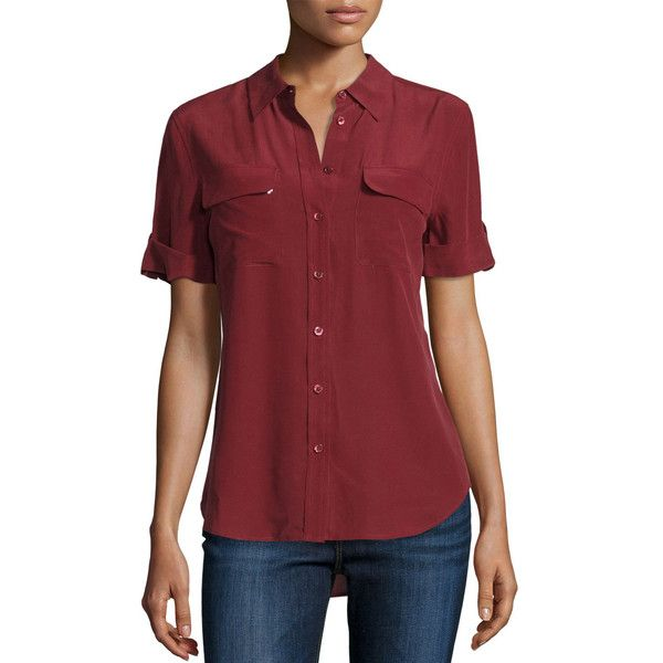 Equipment Short-Sleeve Slim Signature Silk Blouse ($198) ❤ liked on Polyvore featuring tops, blouses, light blue, women's apparel tops, short sleeve blouse, slimming tops, red short sleeve top, red blouse and silk blouse