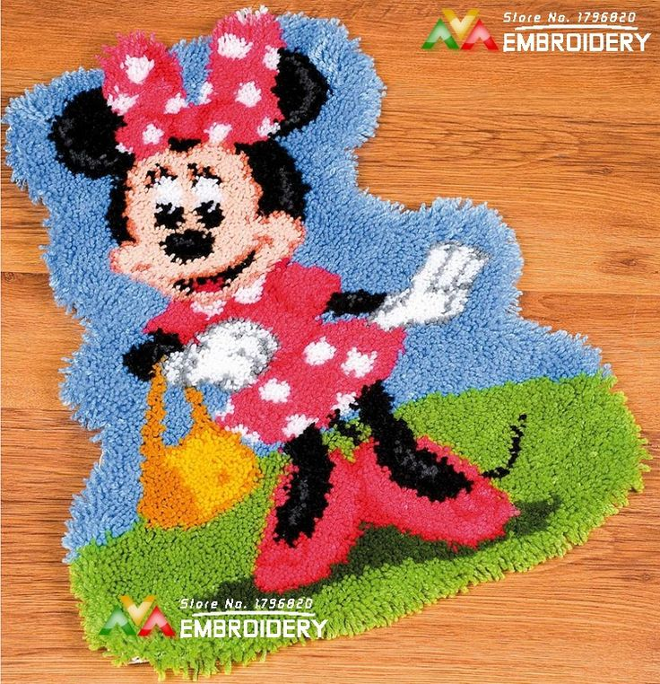 3D Latch Hook Rug Kits Miss Mouse DIY Needlework Unfinished Crocheting Rug  Yarn Cushion Mat Home
