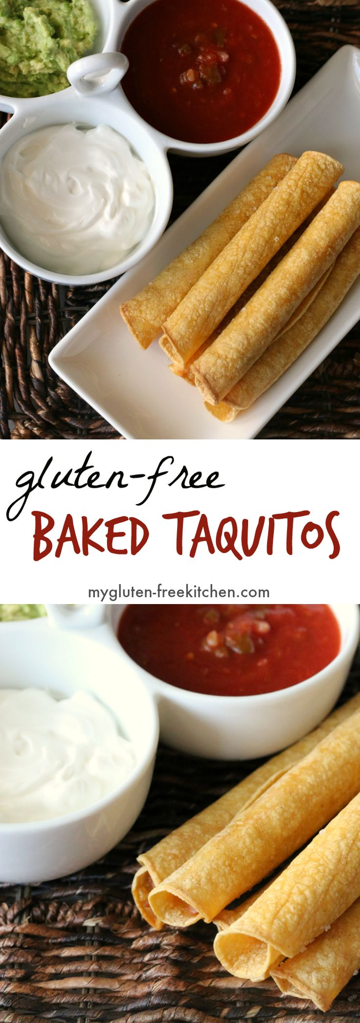 Gluten-free Baked Taquitos Recipe.  Love this for an appetizer for the big game!