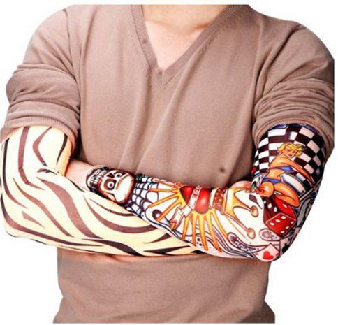 Image of New Nylon Elastic Fake Temporary Tattoo Sleeve Designs Body Arm Stockings Tatoo for Cool Men Women