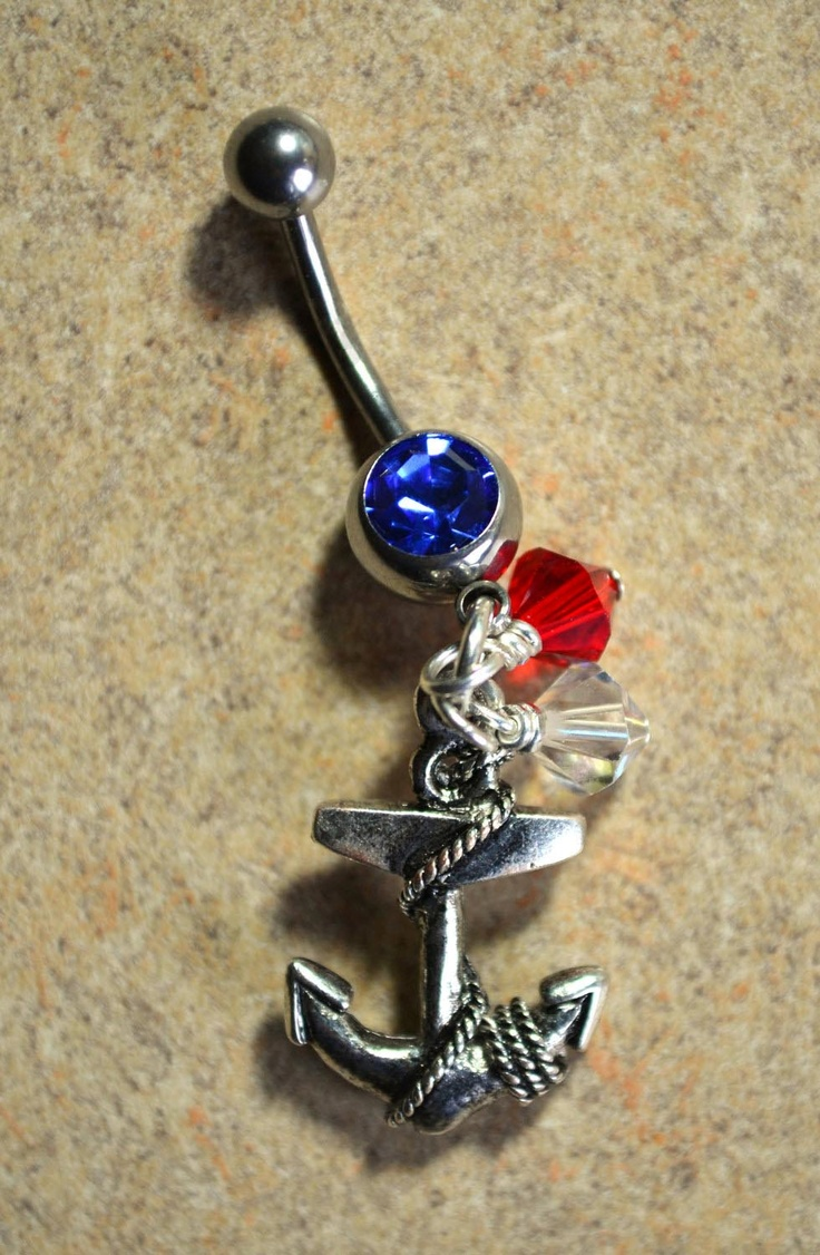 Anchor belly button ring Red white and blue by LauriginalDesigns